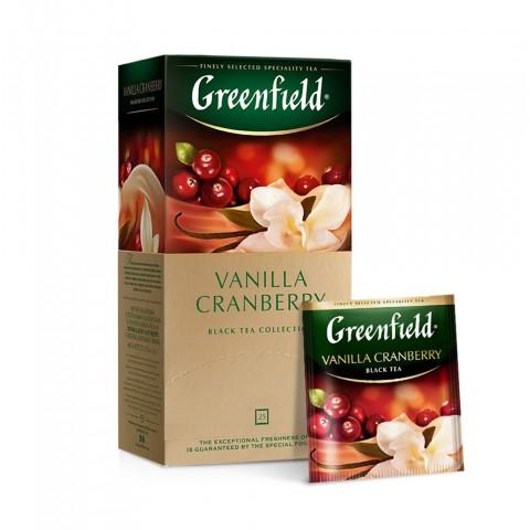 Greenfield Vanilla Cranberry Vanilie și Merișoare Coapte 25 x 1.5 g